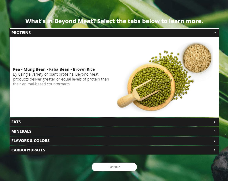 Beyond Meat ingredients eLearning interaction screenshot