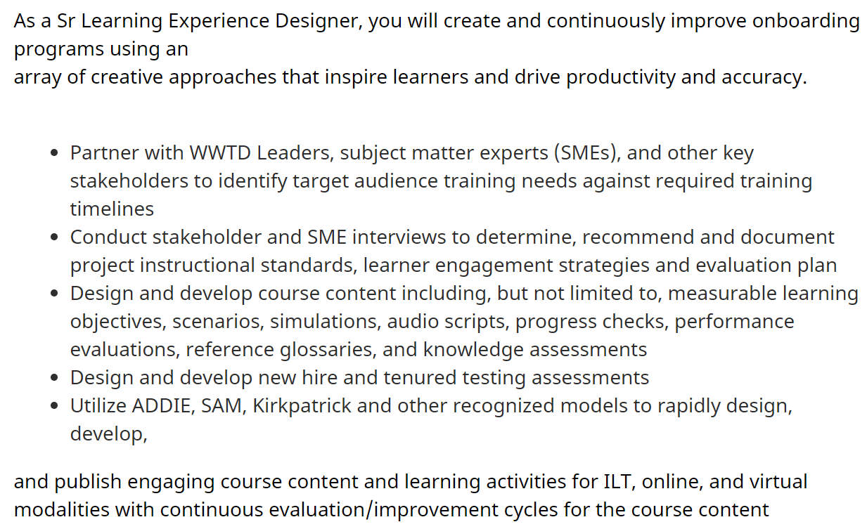 Sr Learning Experience Designer Job Post for Amazon