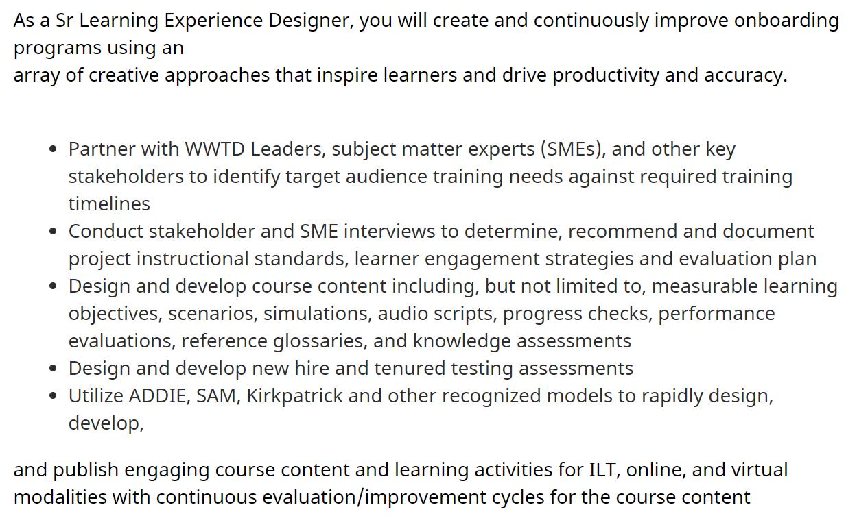 Sr Learning Experience Designer Job Post for Amazon