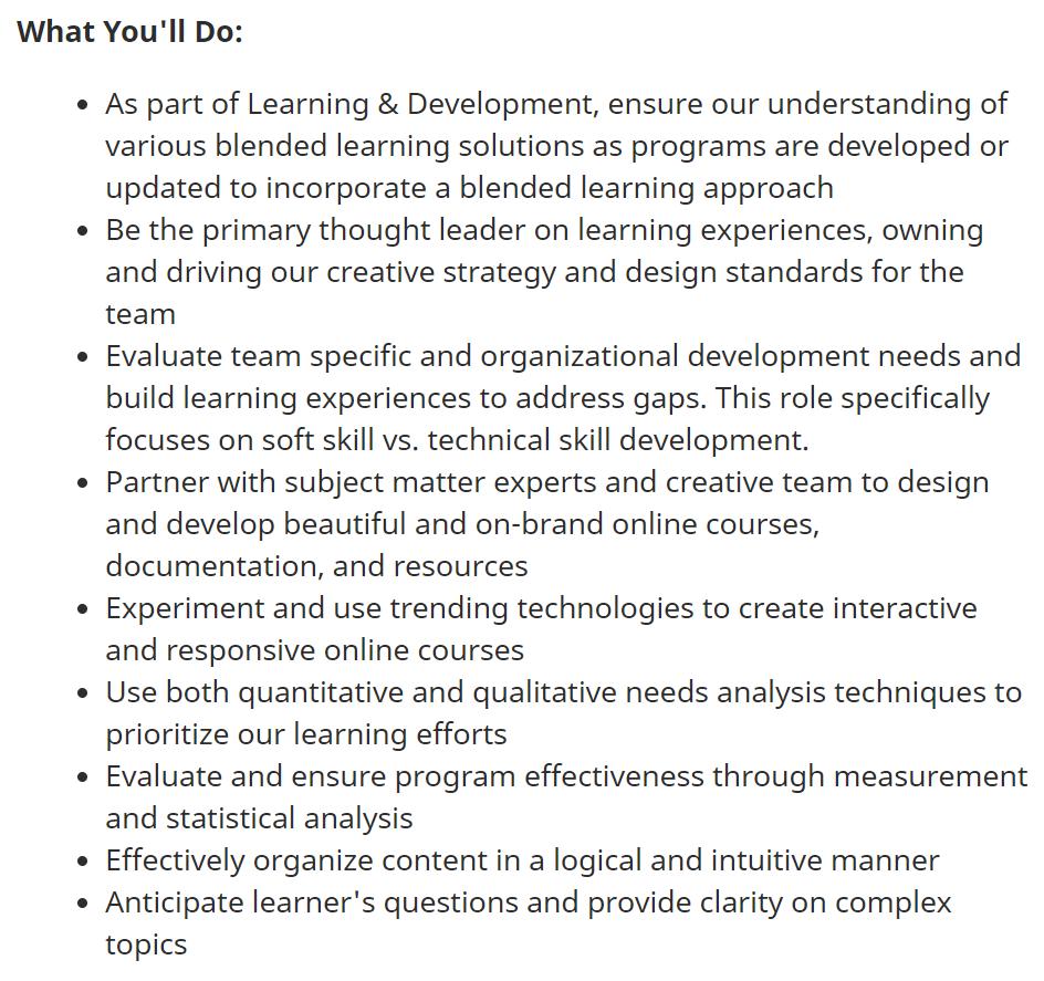Senior Learning Experience Designer Position Responsibilities at Reddit