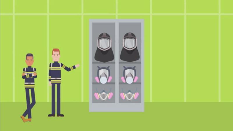 Choose respirator eLearning scenario screenshot
