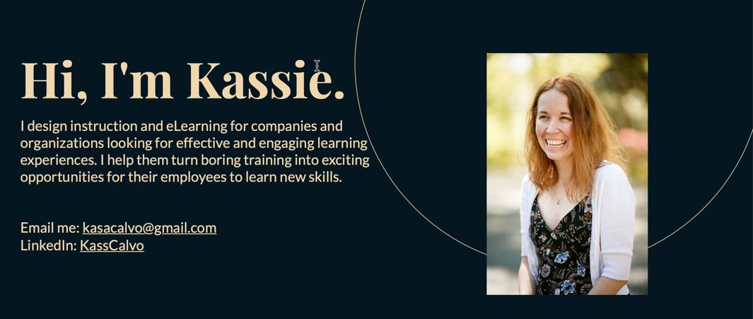 Kassie Calvo eLearning portfolio hero section