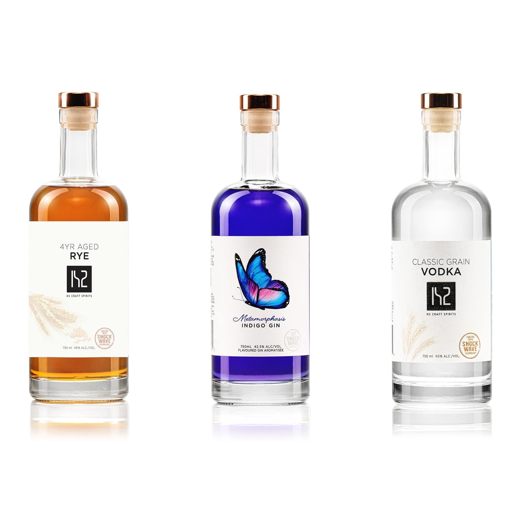 3 H2Craft Spirits Bottles