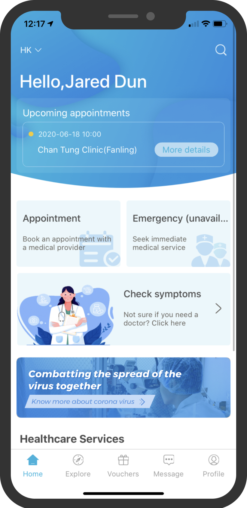 Insurance mobile app home screen shows appointment, symptom checker and healthcare services
