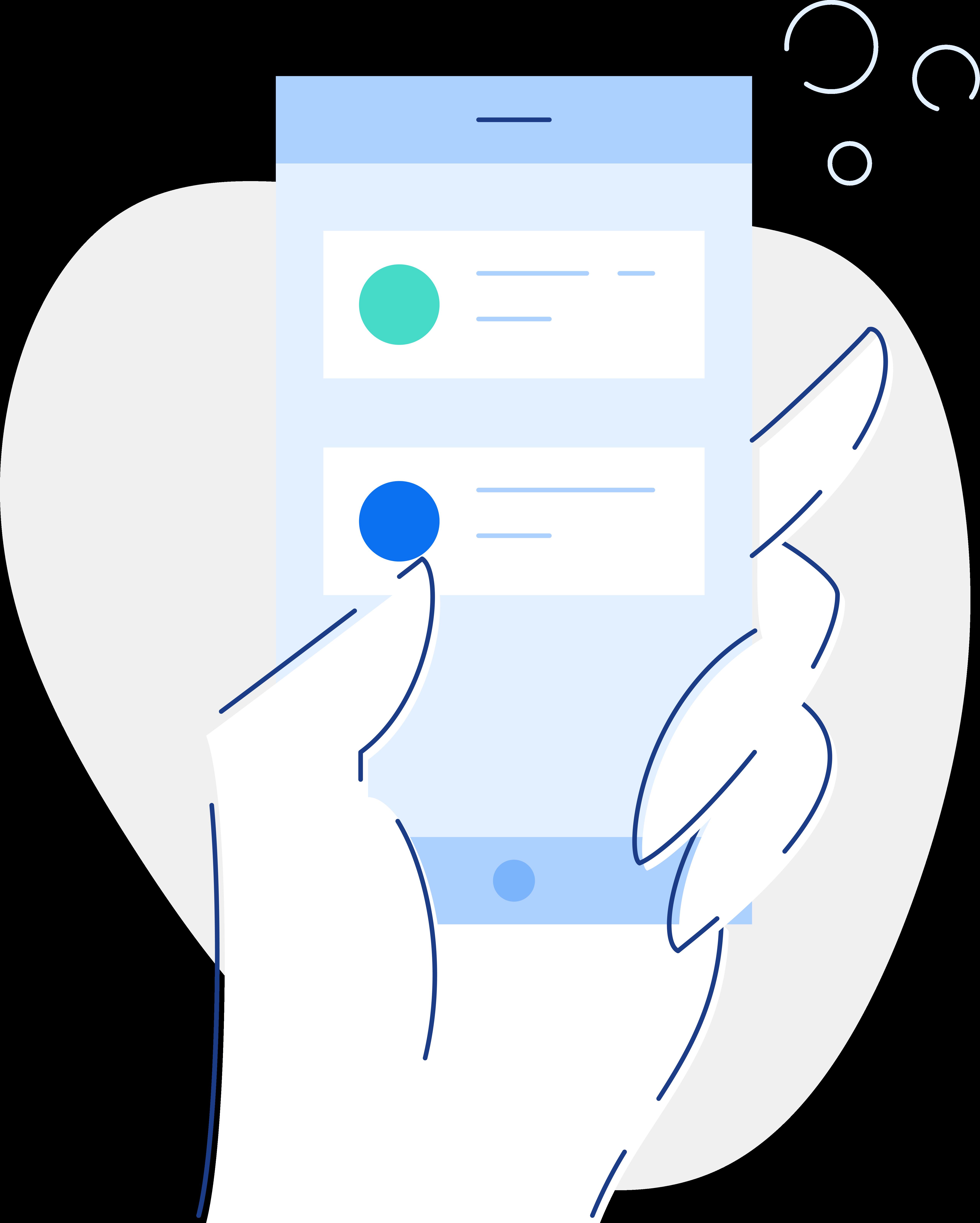 Hand holding insurance mobile app