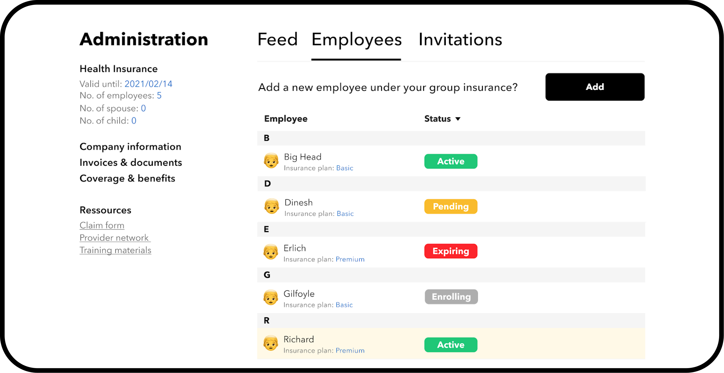 StartupCare HR medical insurance dashboard that shows employee status