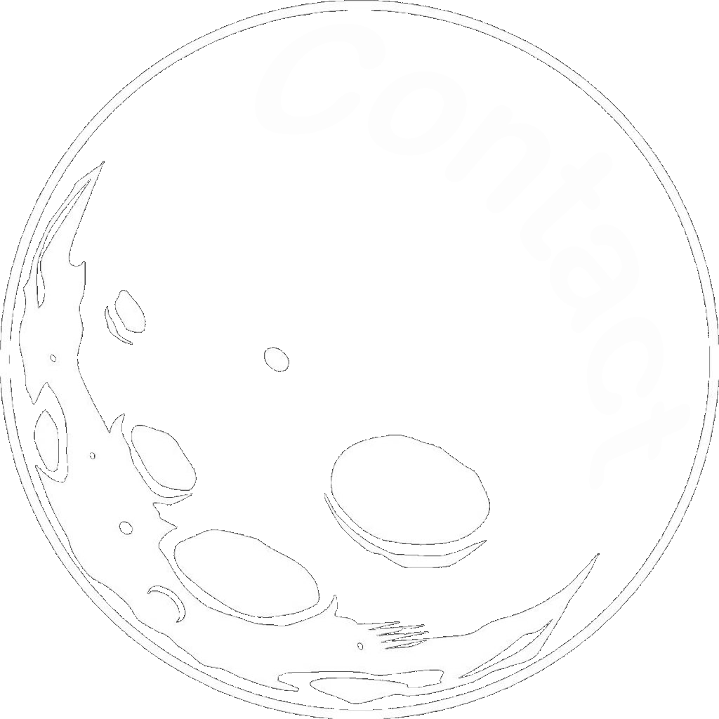 """A rocky moon that says """"Contact"""" in it."""