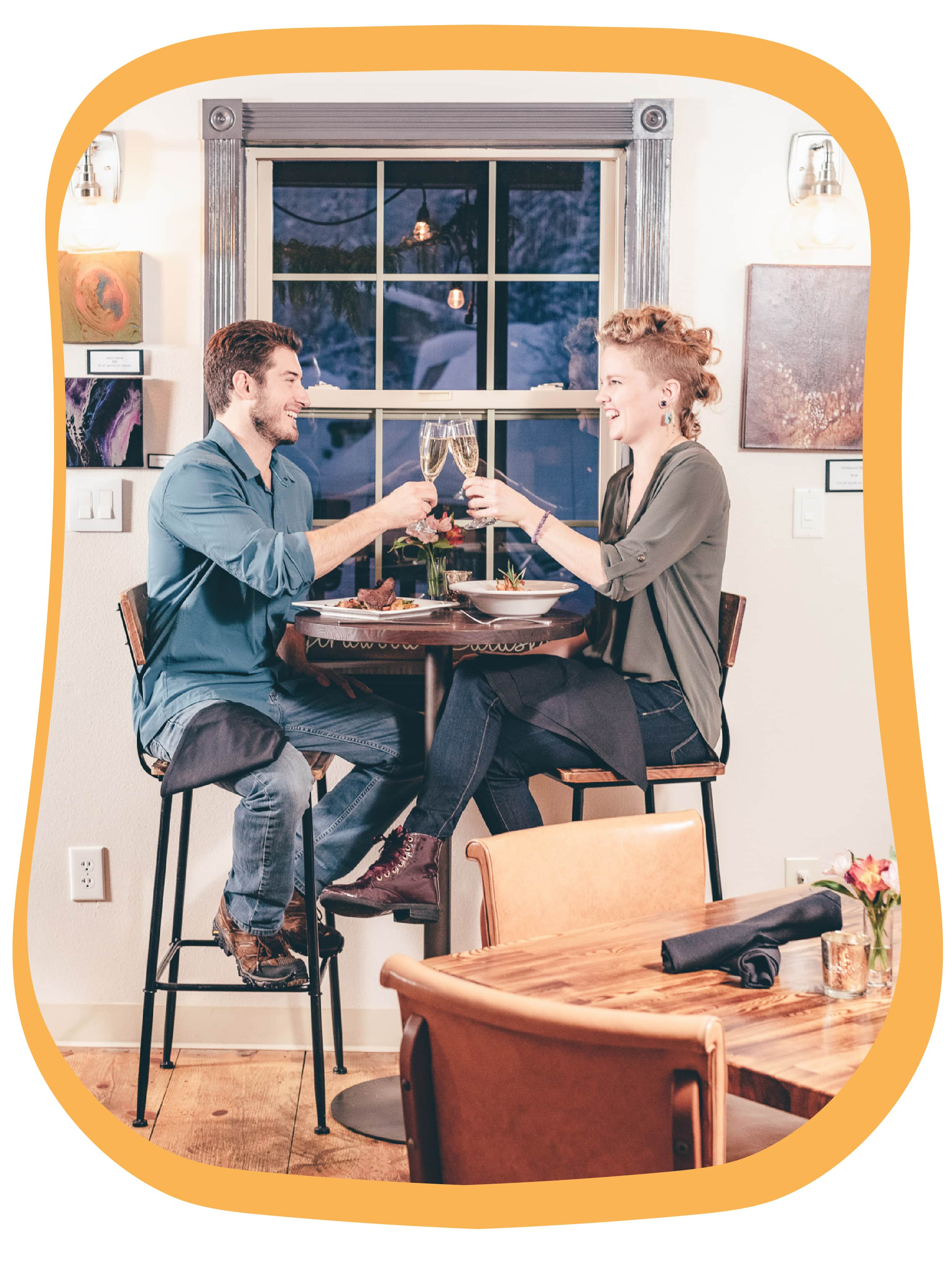 Couple Enjoying Meal At Spoonline Bistro