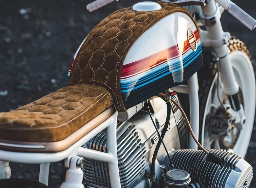 BMW R80 MOTORCYCLE Leather seat closeup