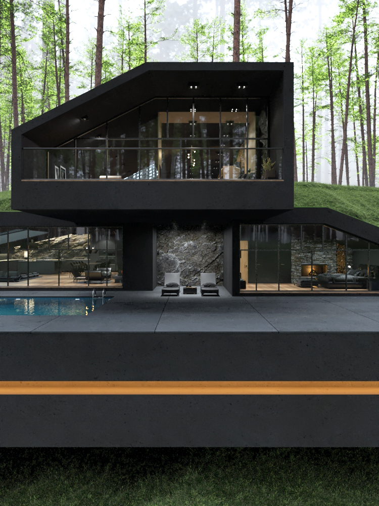 Matte Black Villa in Harriman State Park, New York