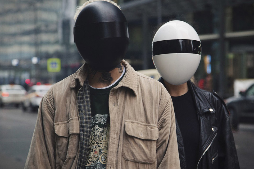 Blanc Daft Punk Facemask