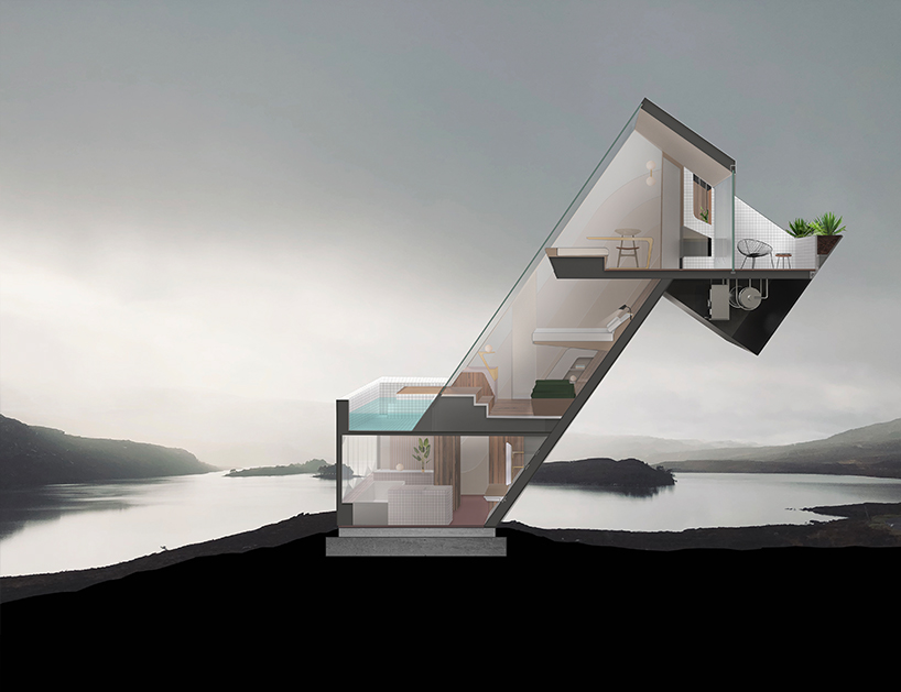 Diagonal Dwelling Sloping House by NYDE Studio