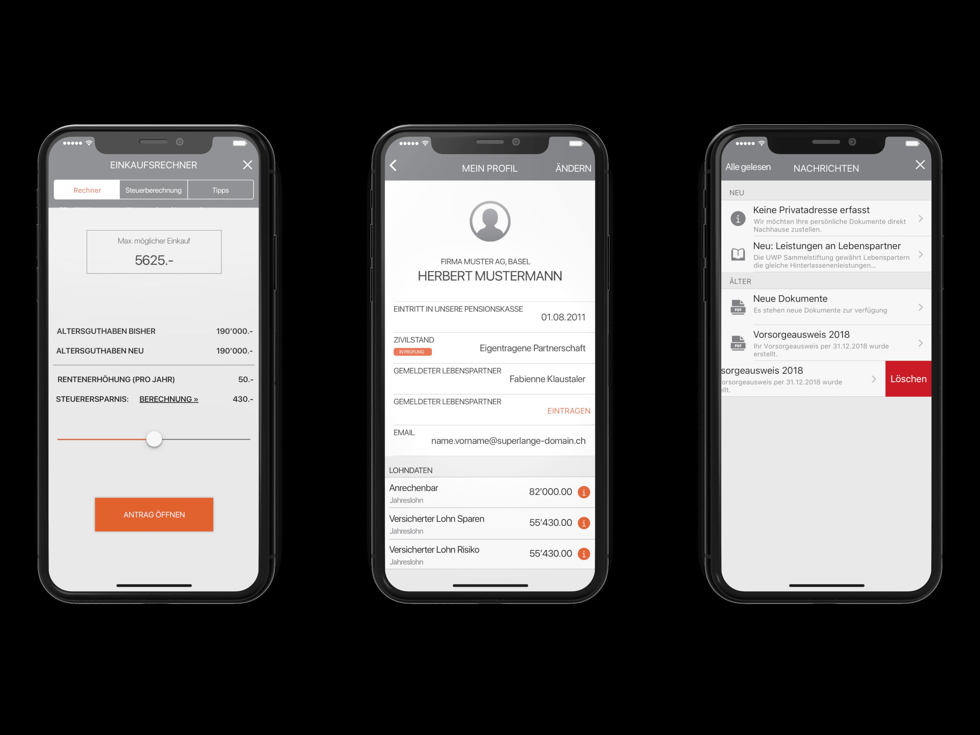 iPhone App Design Pensionskasse