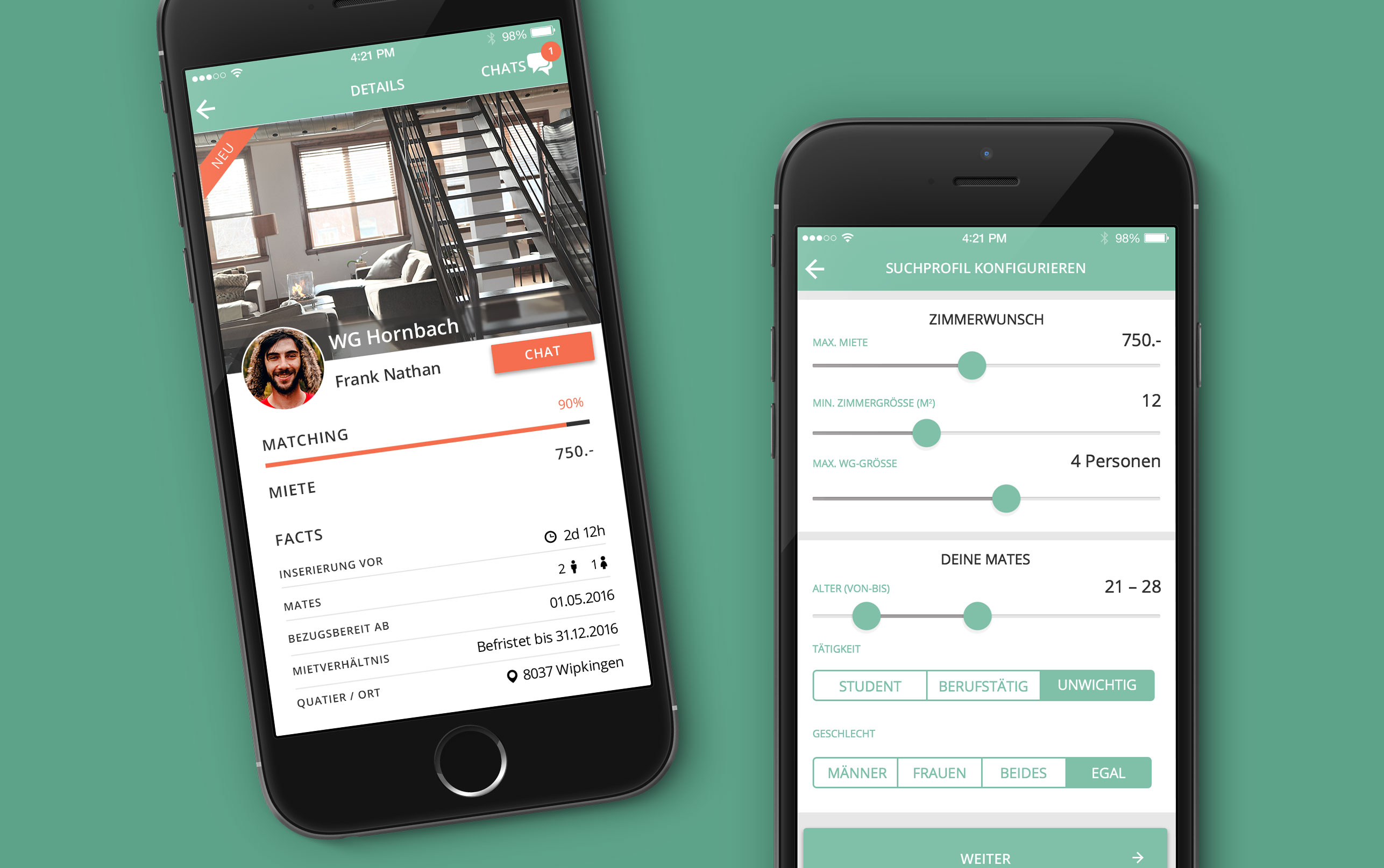 Mobile App Flatmatch UX Design