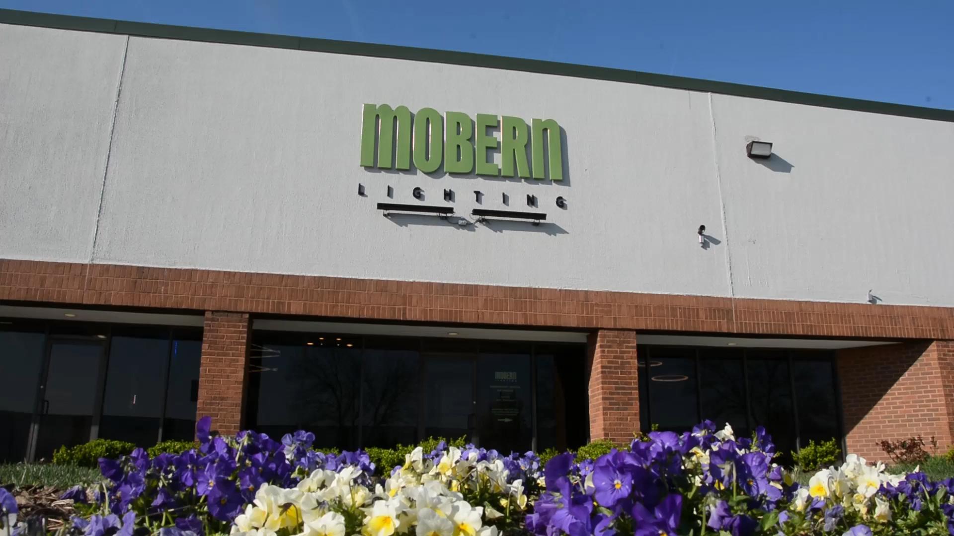 The front doors of Mobern Lighting.