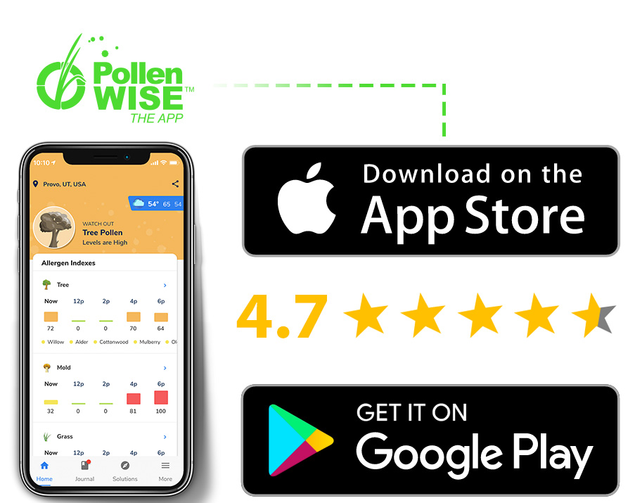 Download the Pollen Wise mobile app on the Apple App store and the Google Play store.
