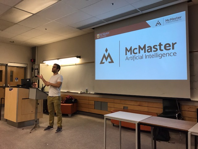 Andrew Leber speaking at a Mac AI meeting
