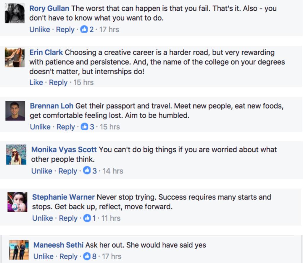 Facebook responses