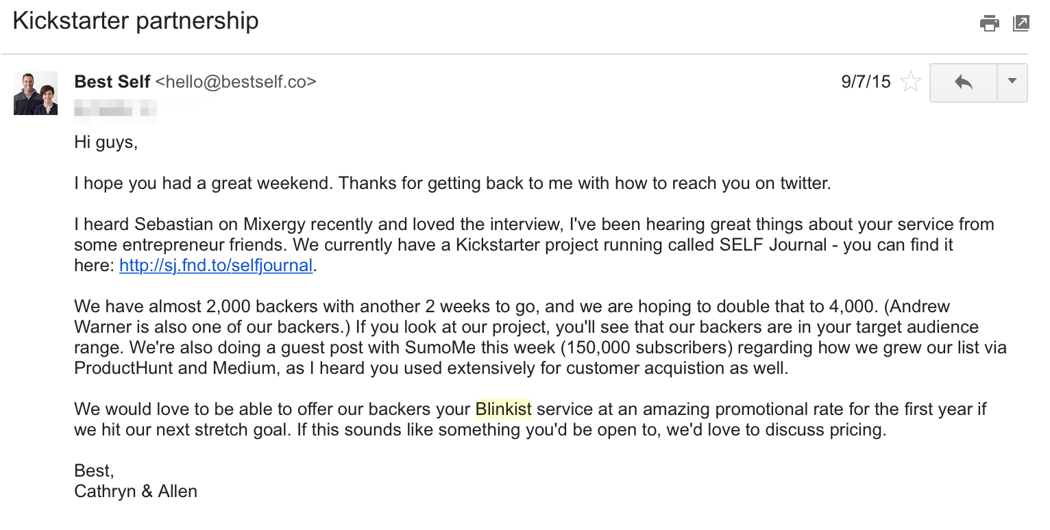 Kickstarter-email