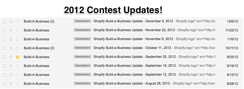 2012 Shopify Build a Business contest updates