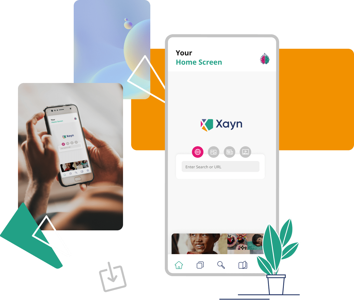Woman holding a phone with Xayn app opened. Close up of Xayn app homepage.