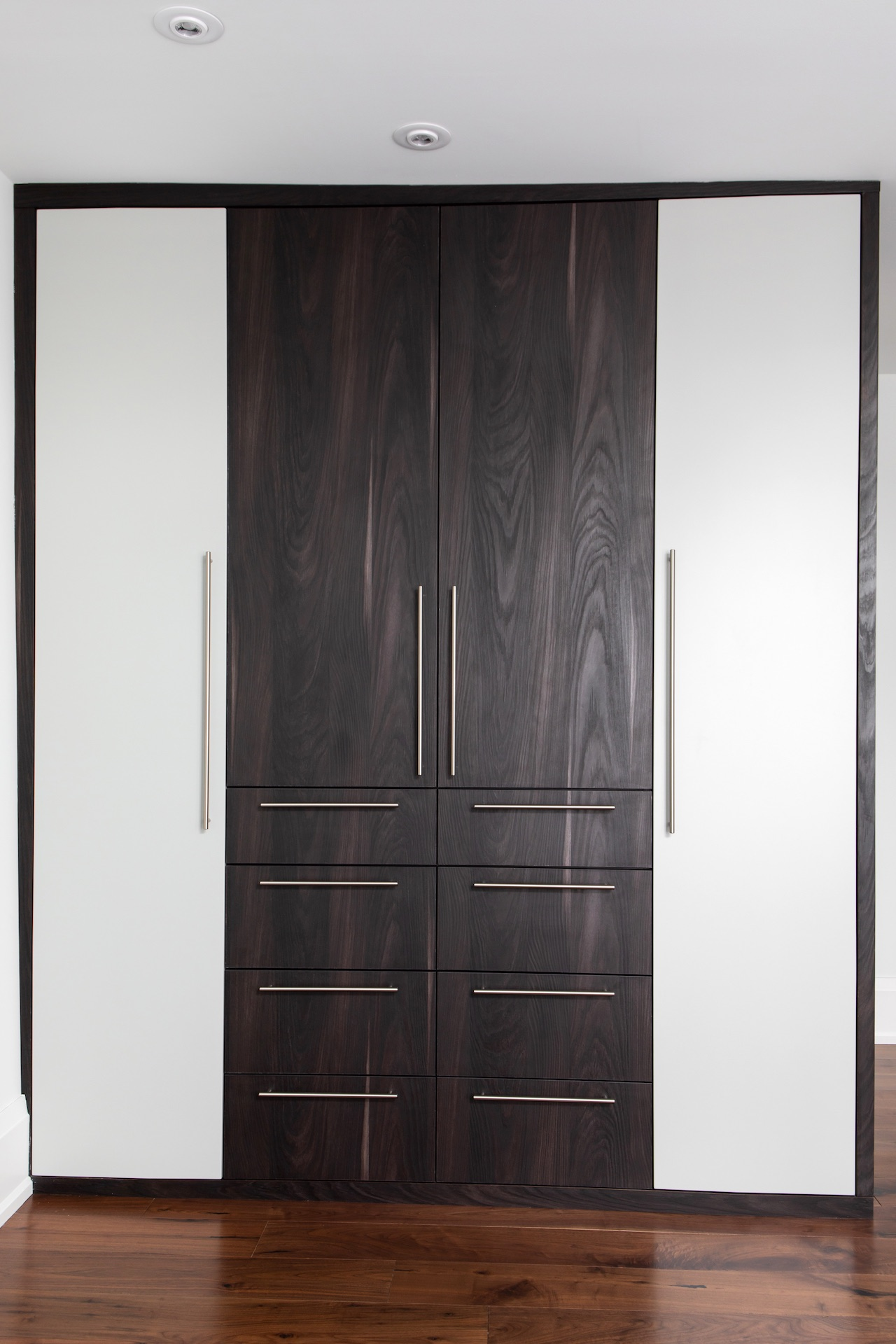 dark wood closet doors