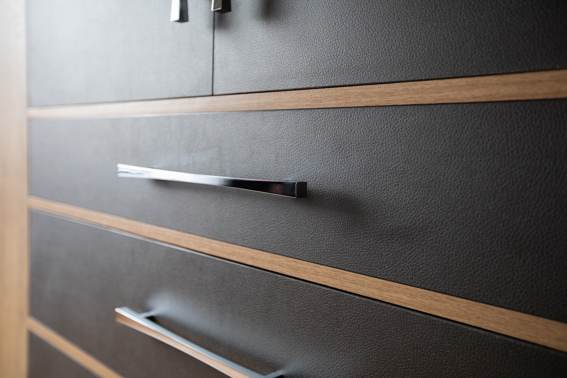 wardrobe closed drawers with silver handles