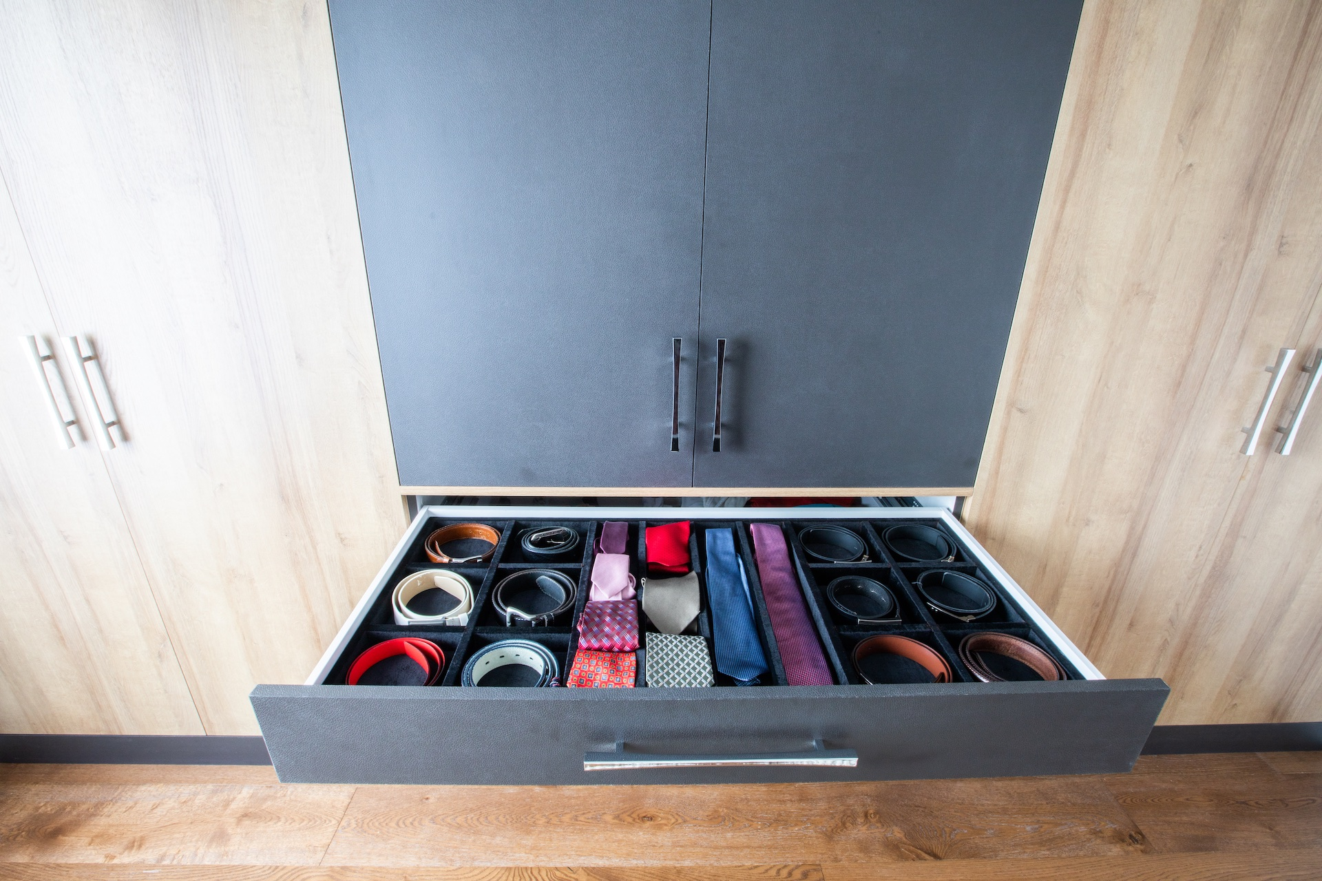 drawer open with ties