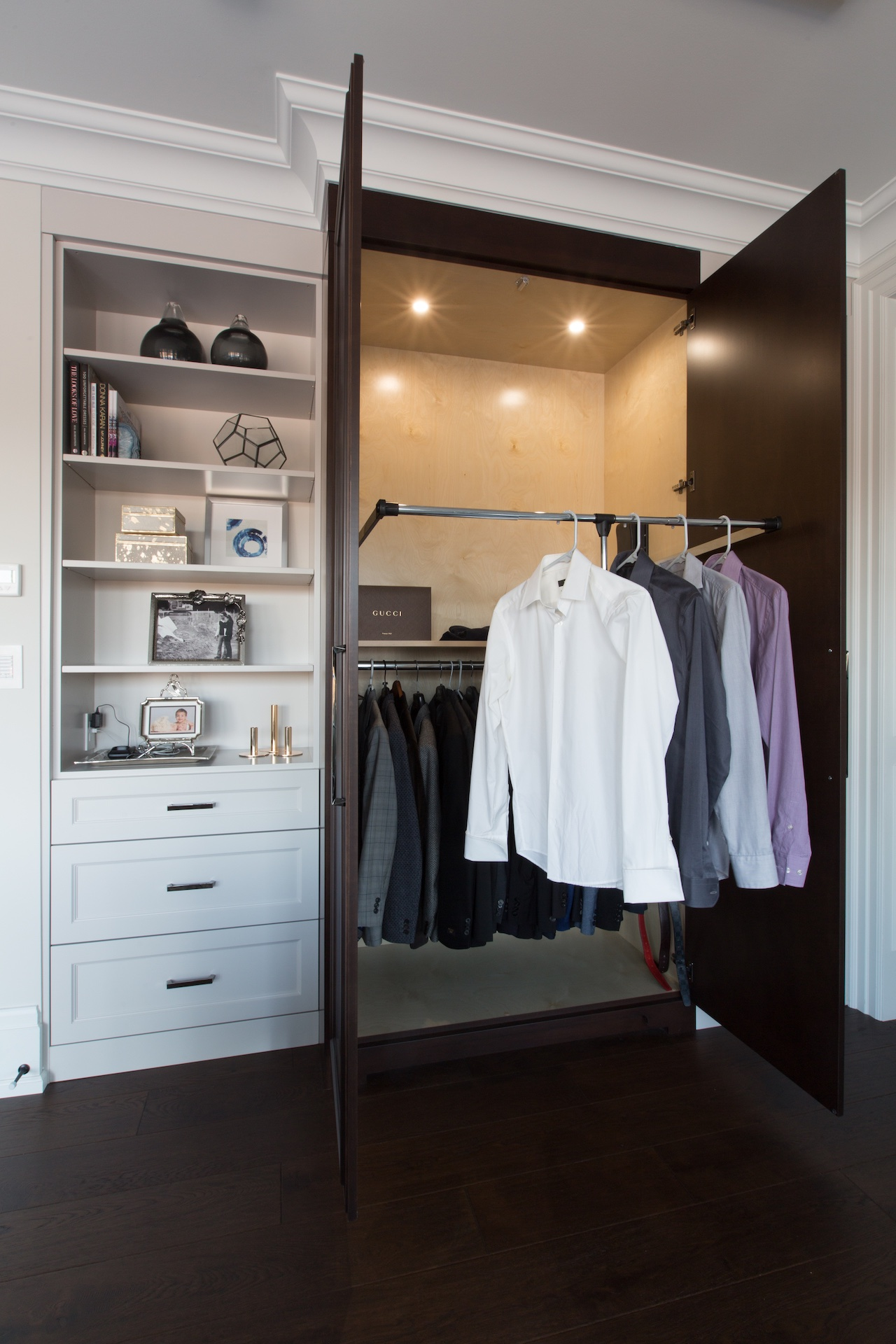 open wardrobe with shirts