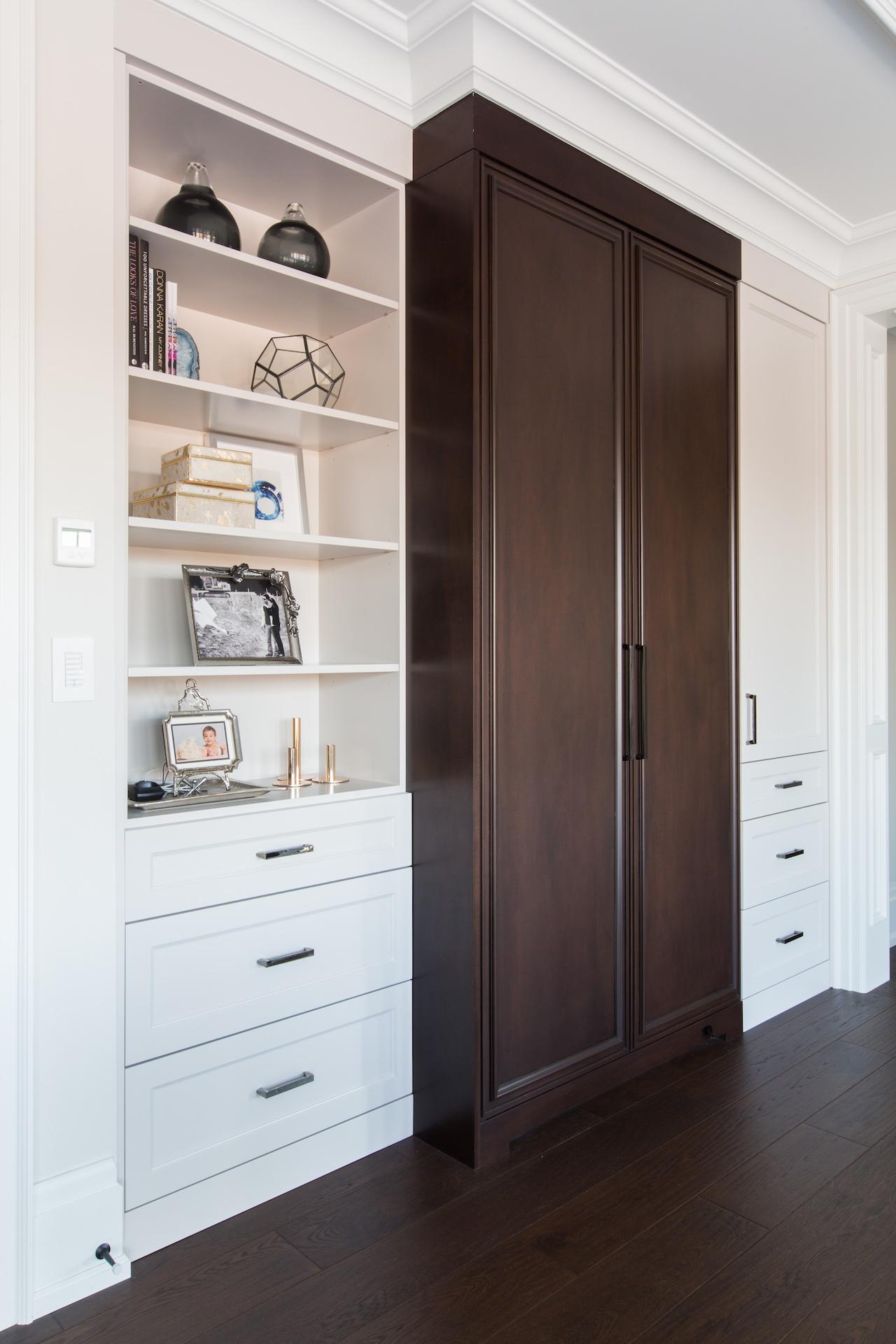 wardrobe shelves with wood doors