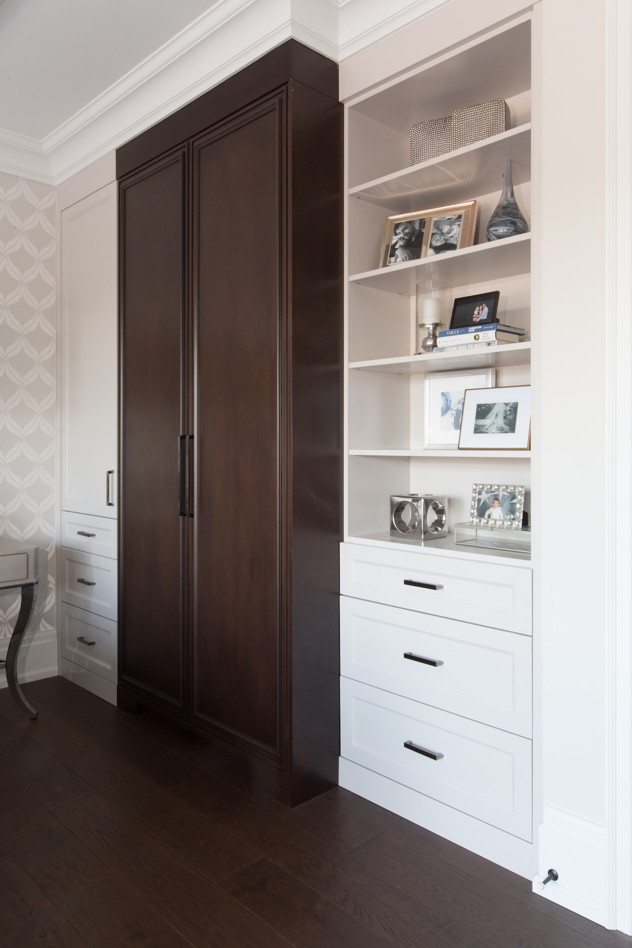 dark wood cabinet with shelves
