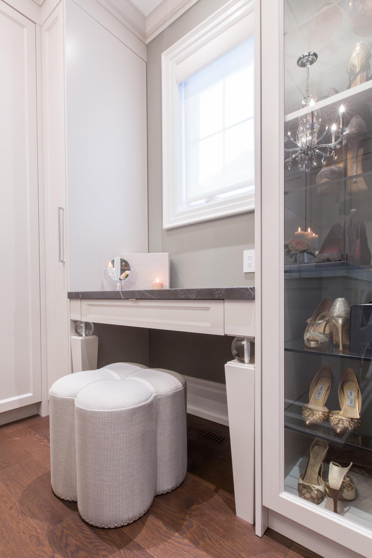 Wardrobe desk with stool