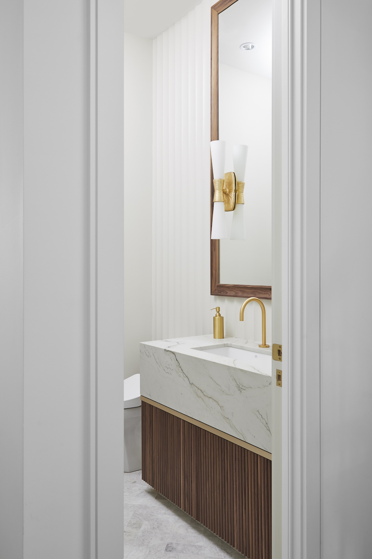 wood bathroom vanity with sink
