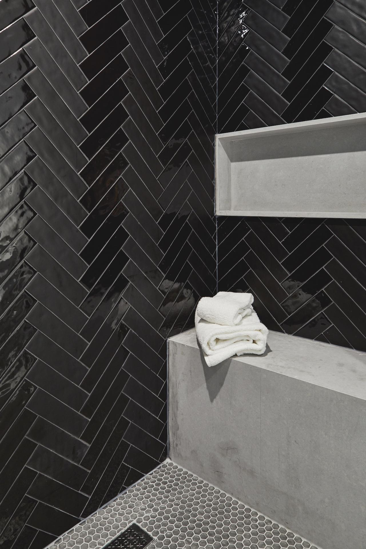 black tile in shower