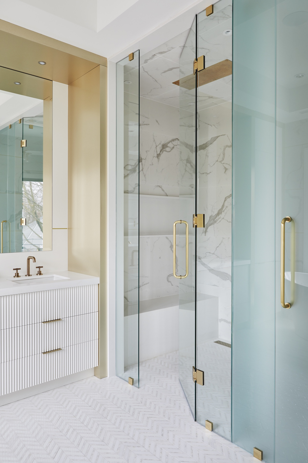 bathroom shower with marble