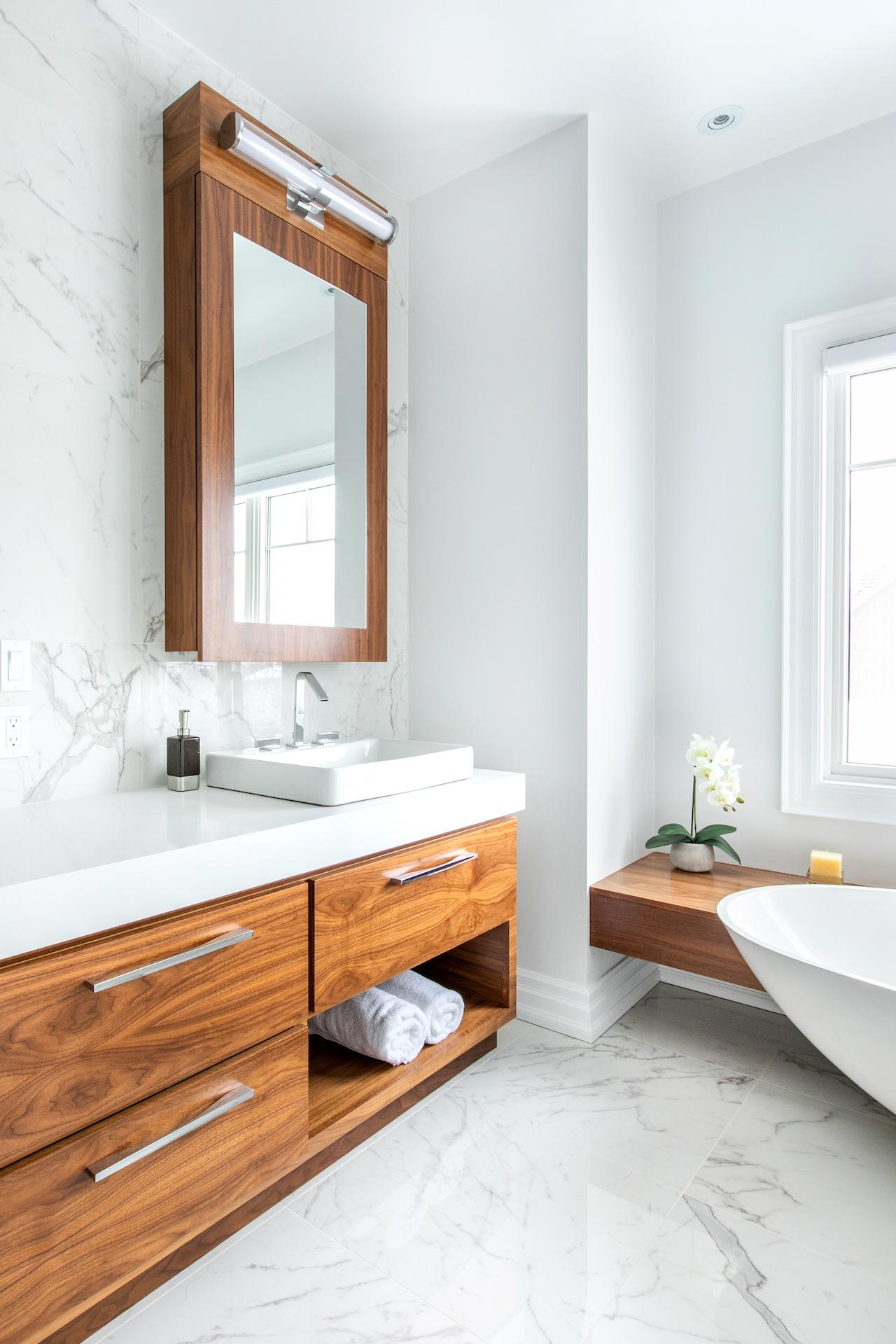 wood vanity and white sink