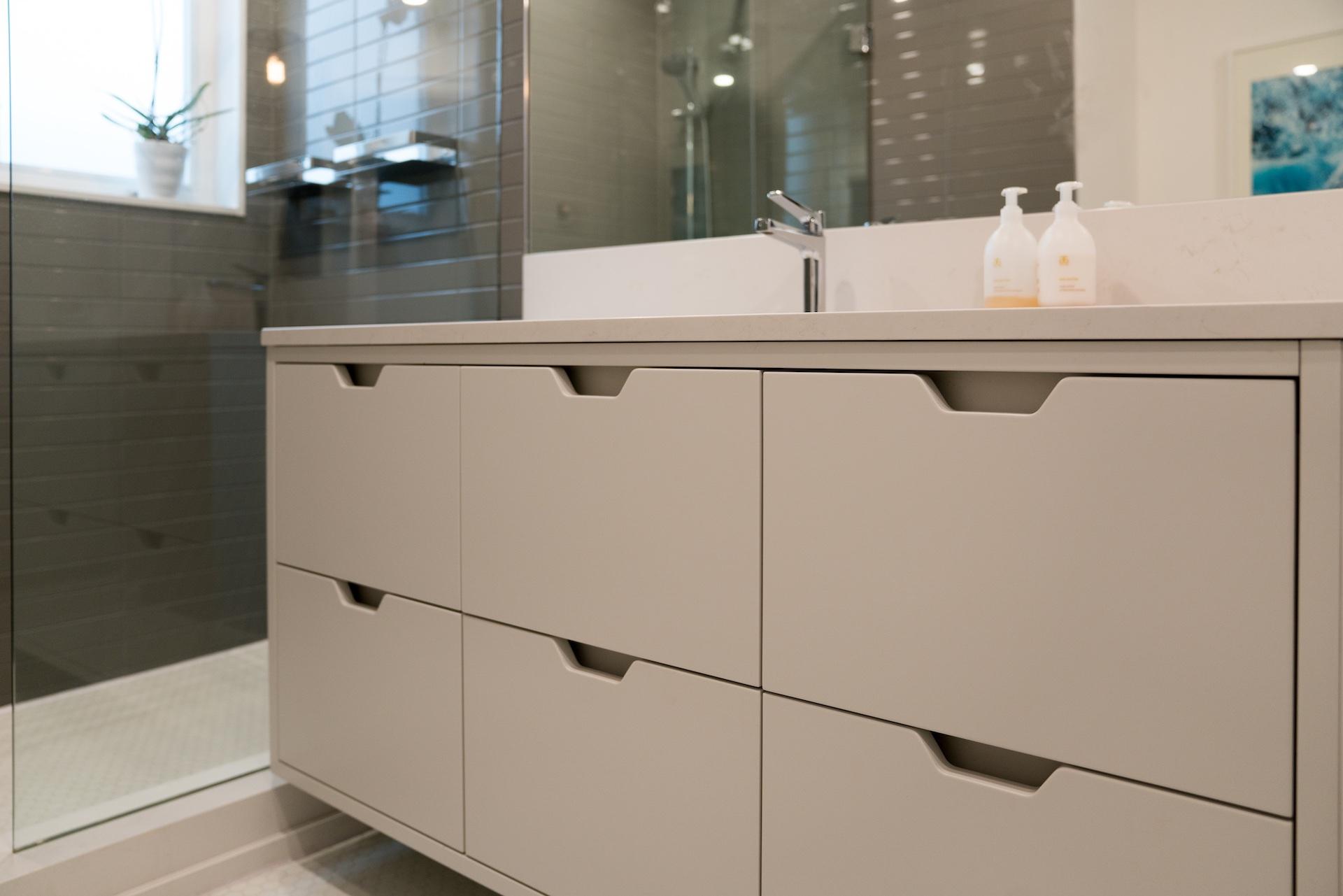 white vanity drawers