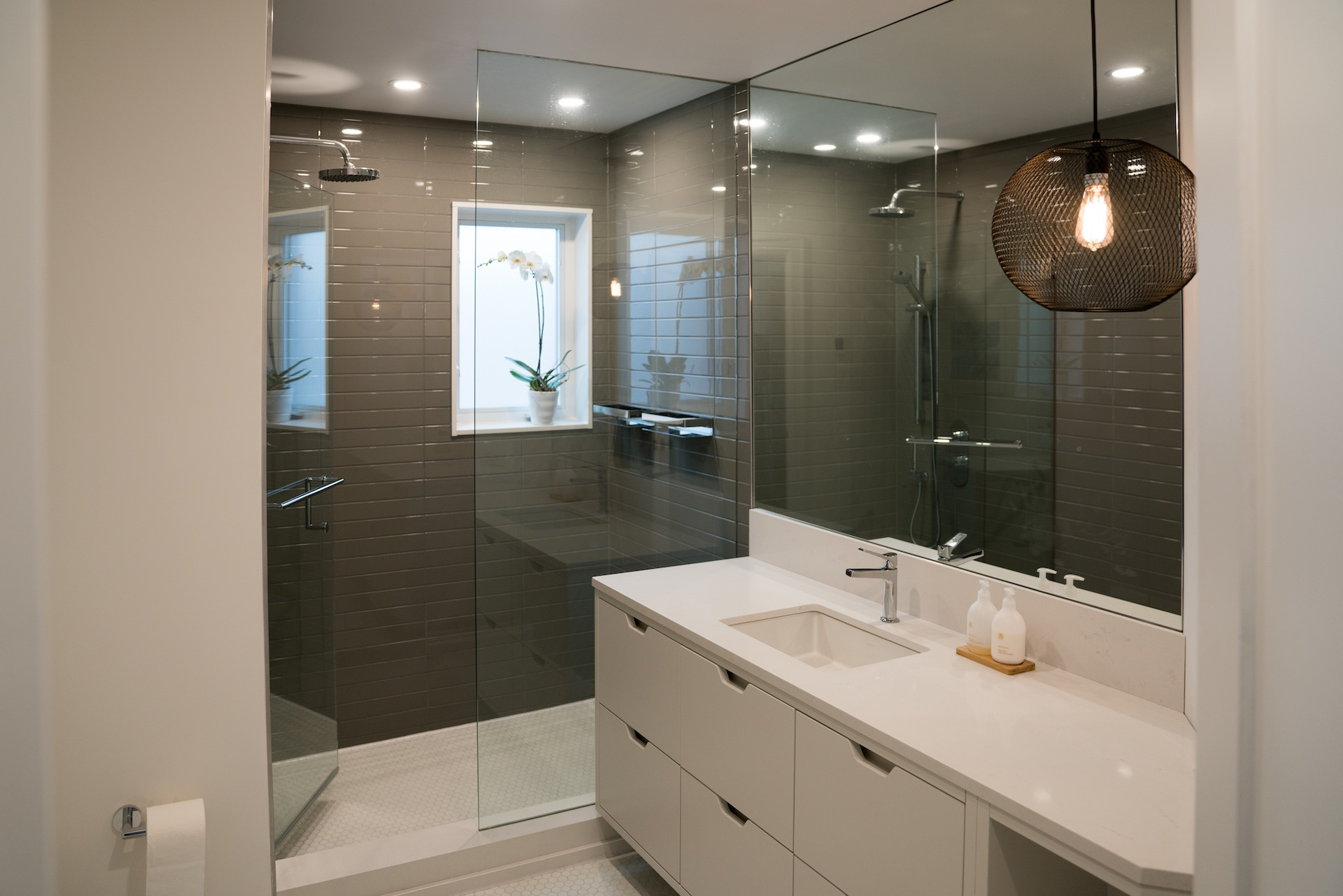 shower and white vanity