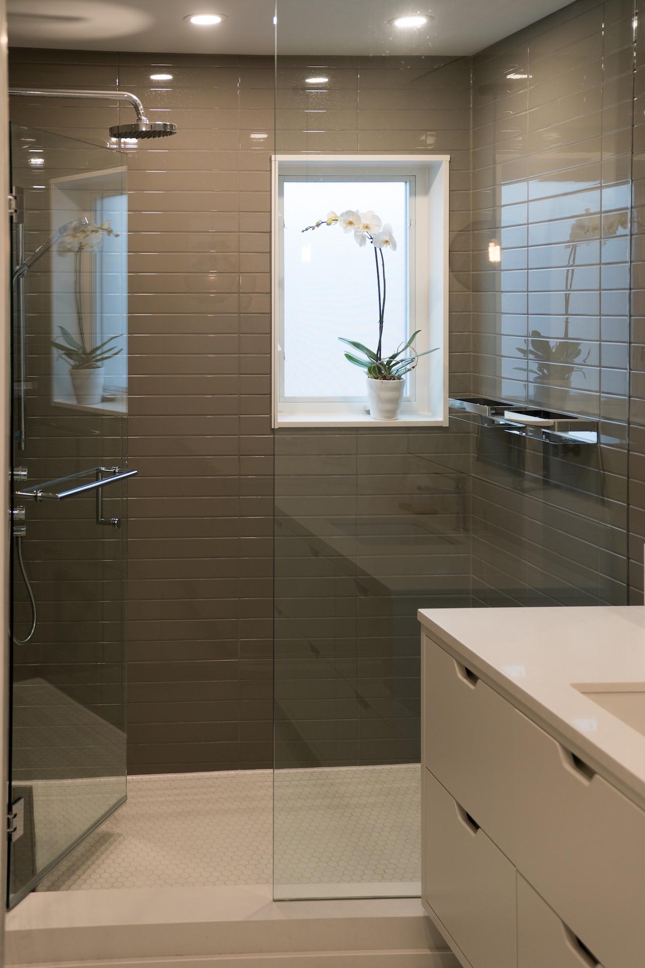 brown shower with rainhead