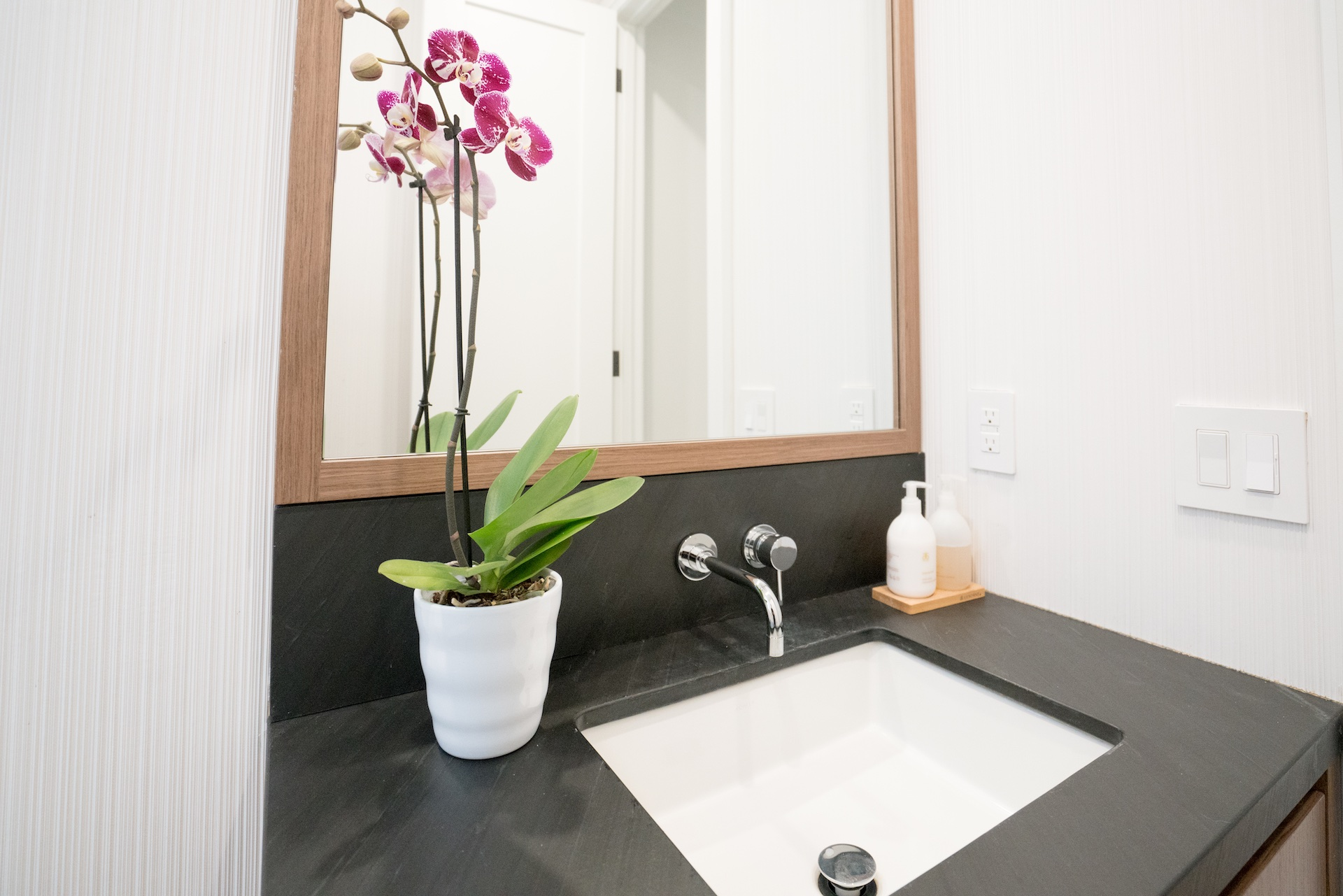 black counter and sink