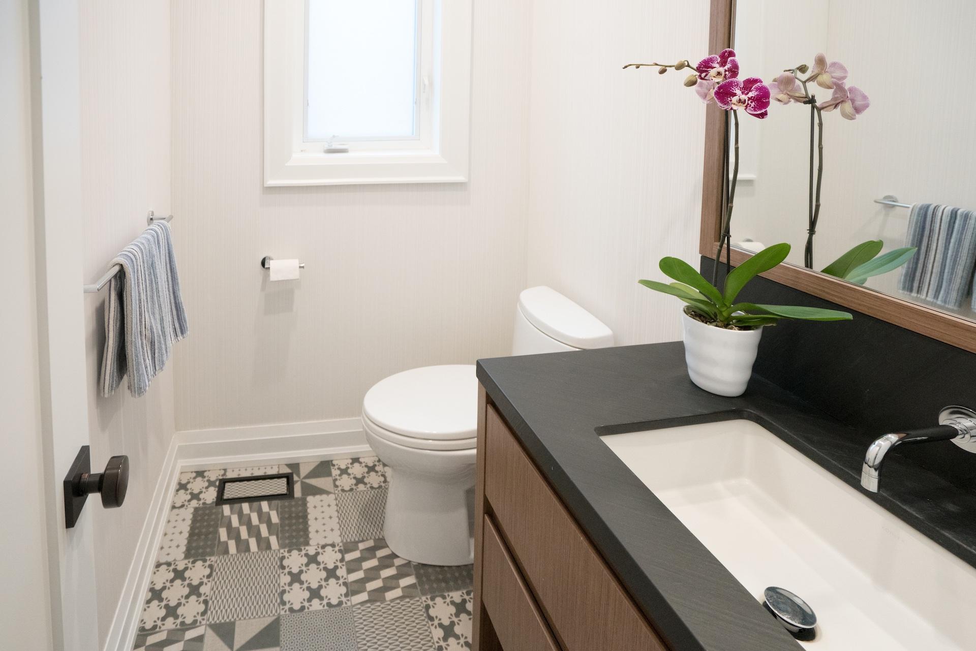 wood vanity and toilet