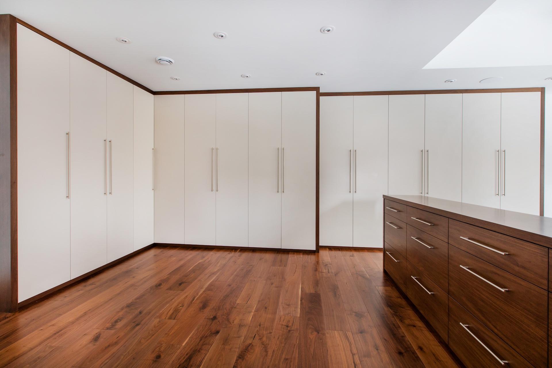 Wood floor with built in wardrobe