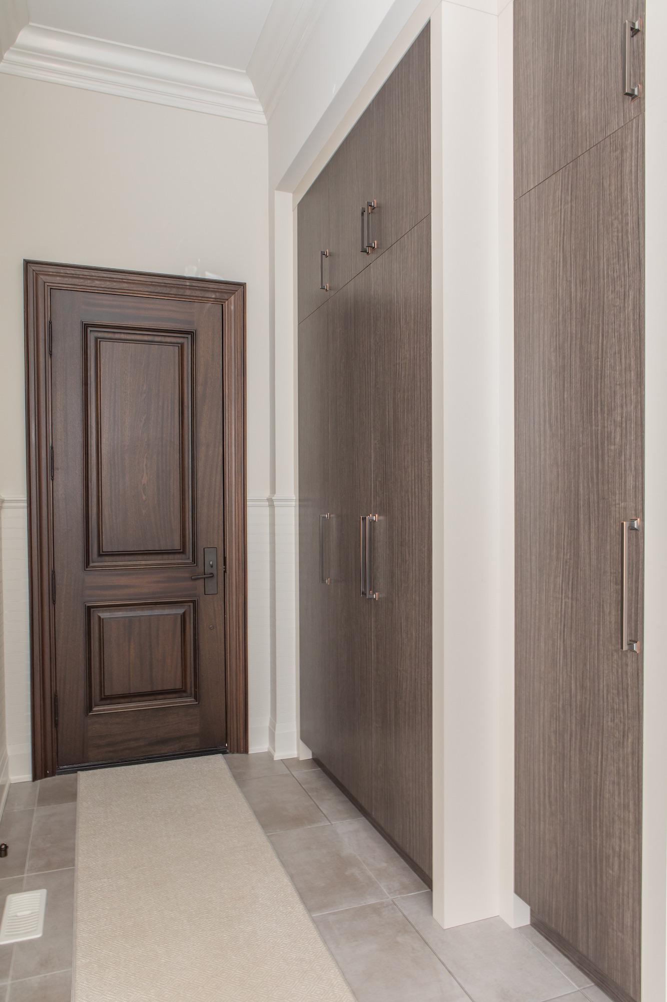Wood door with closets