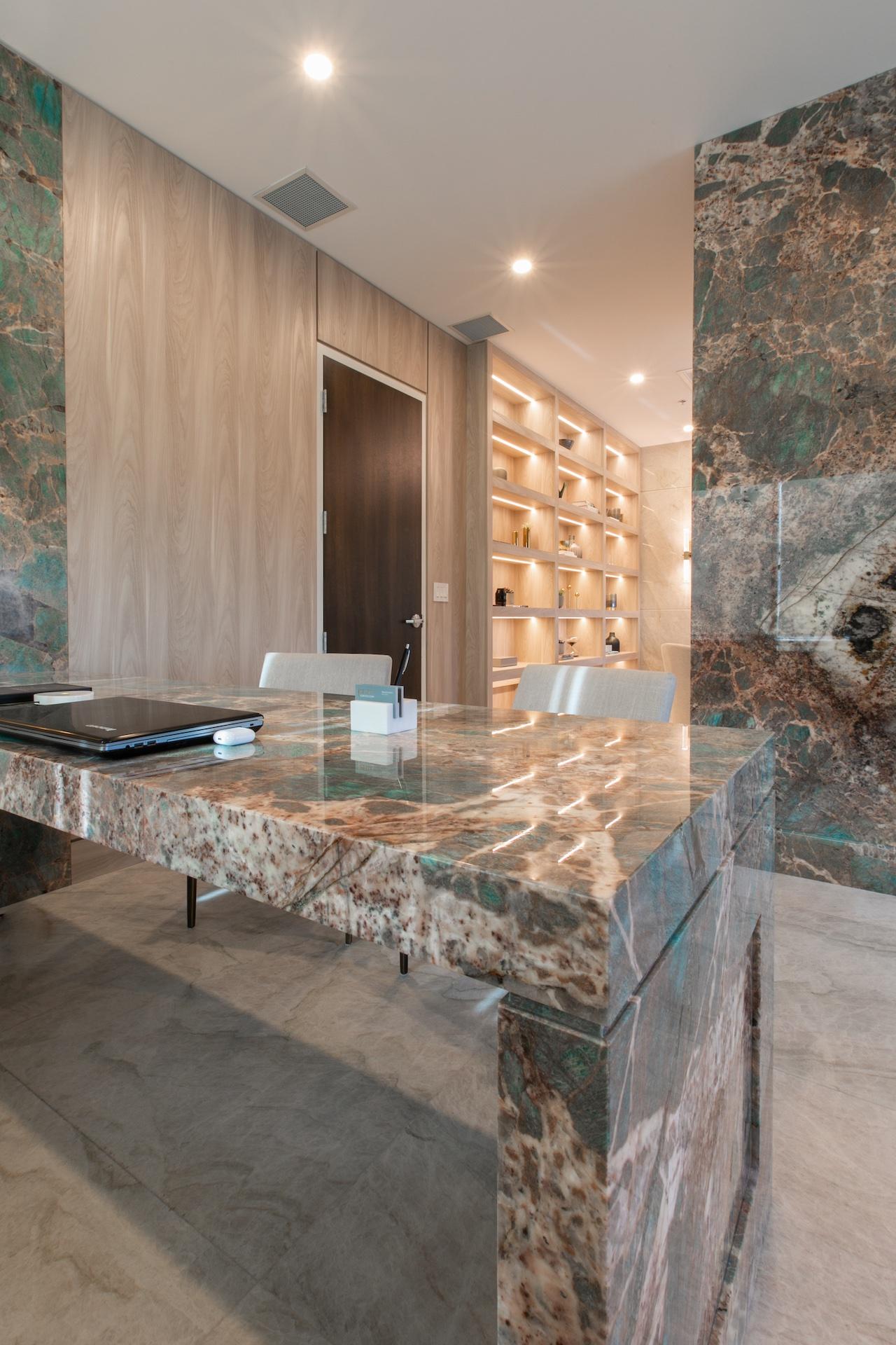 corner of marble desk