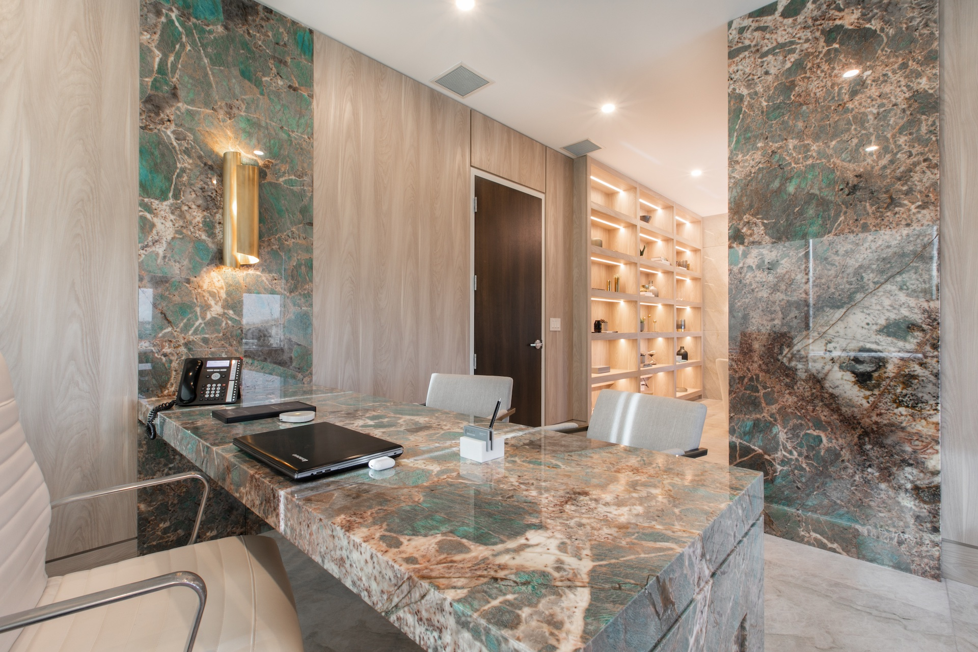 marble desk top and marble wall