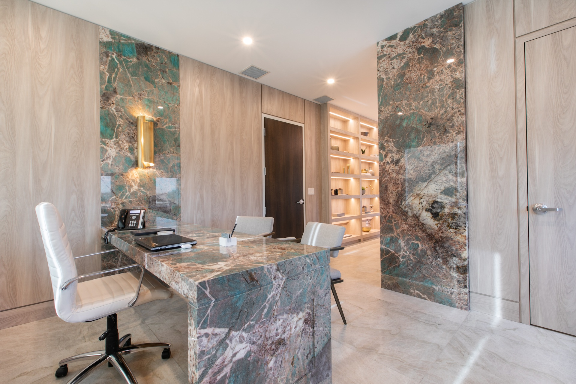 Marble desk and chair