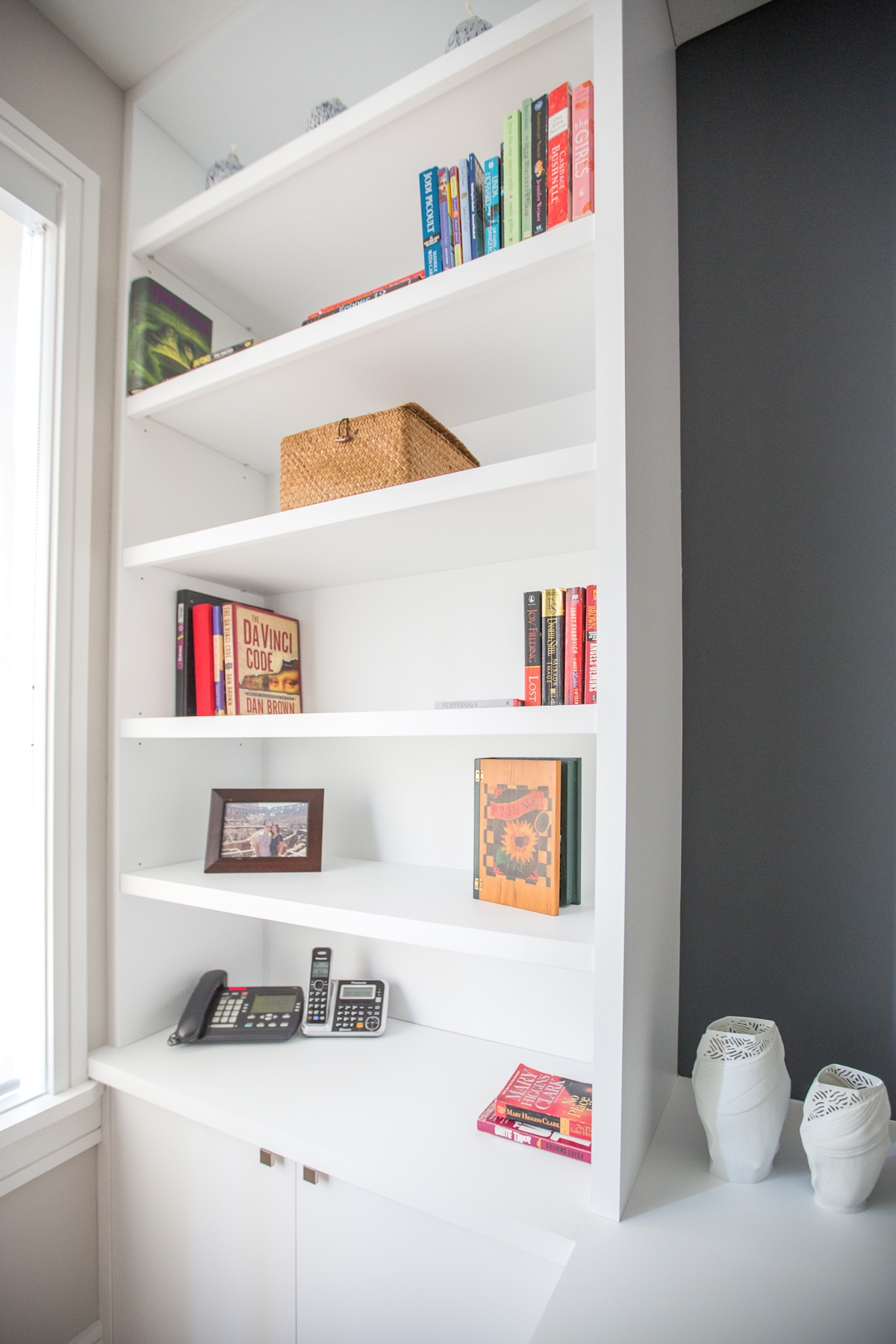 White wood cabinets and shelves