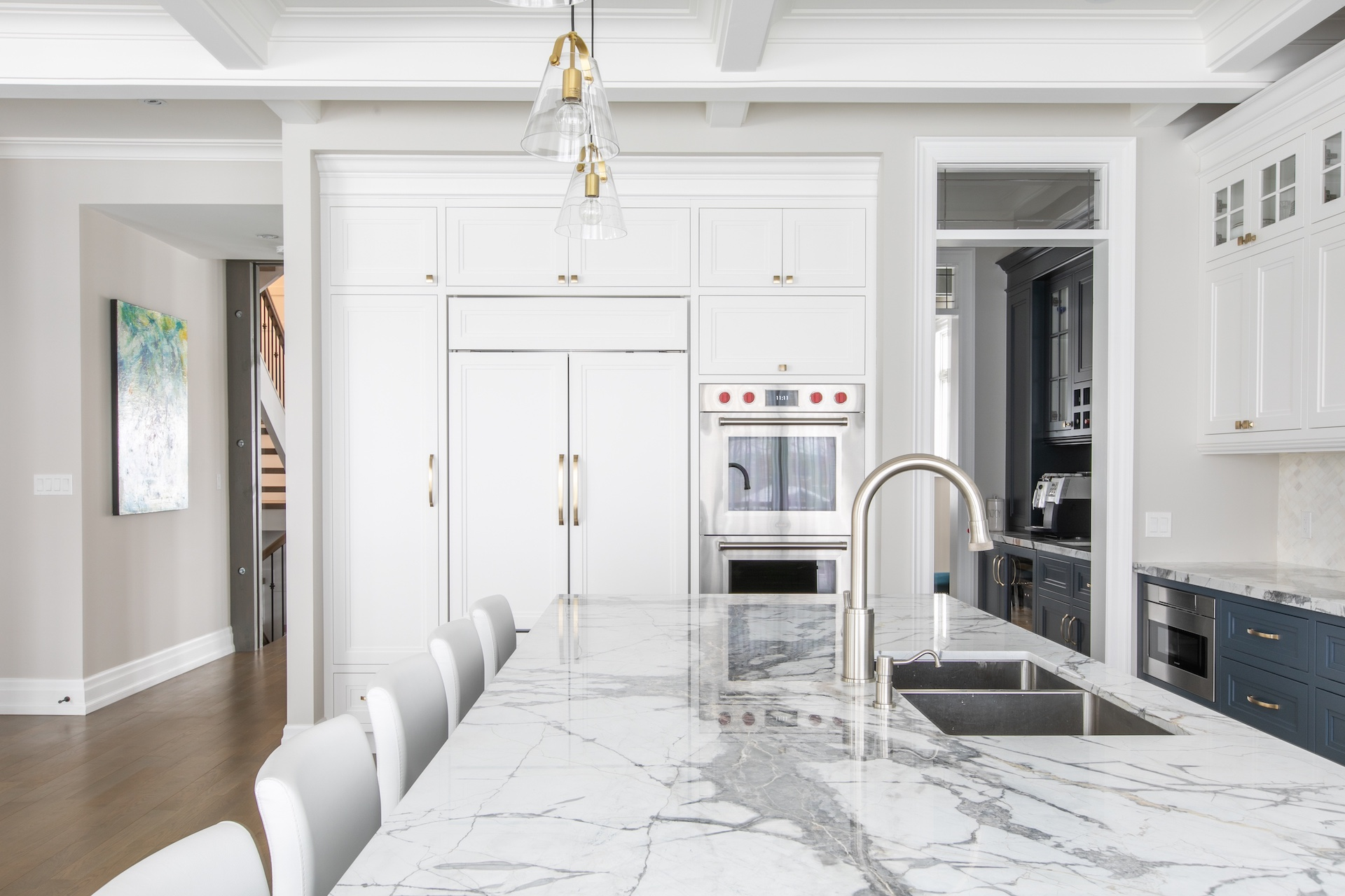 marble island counter with sink