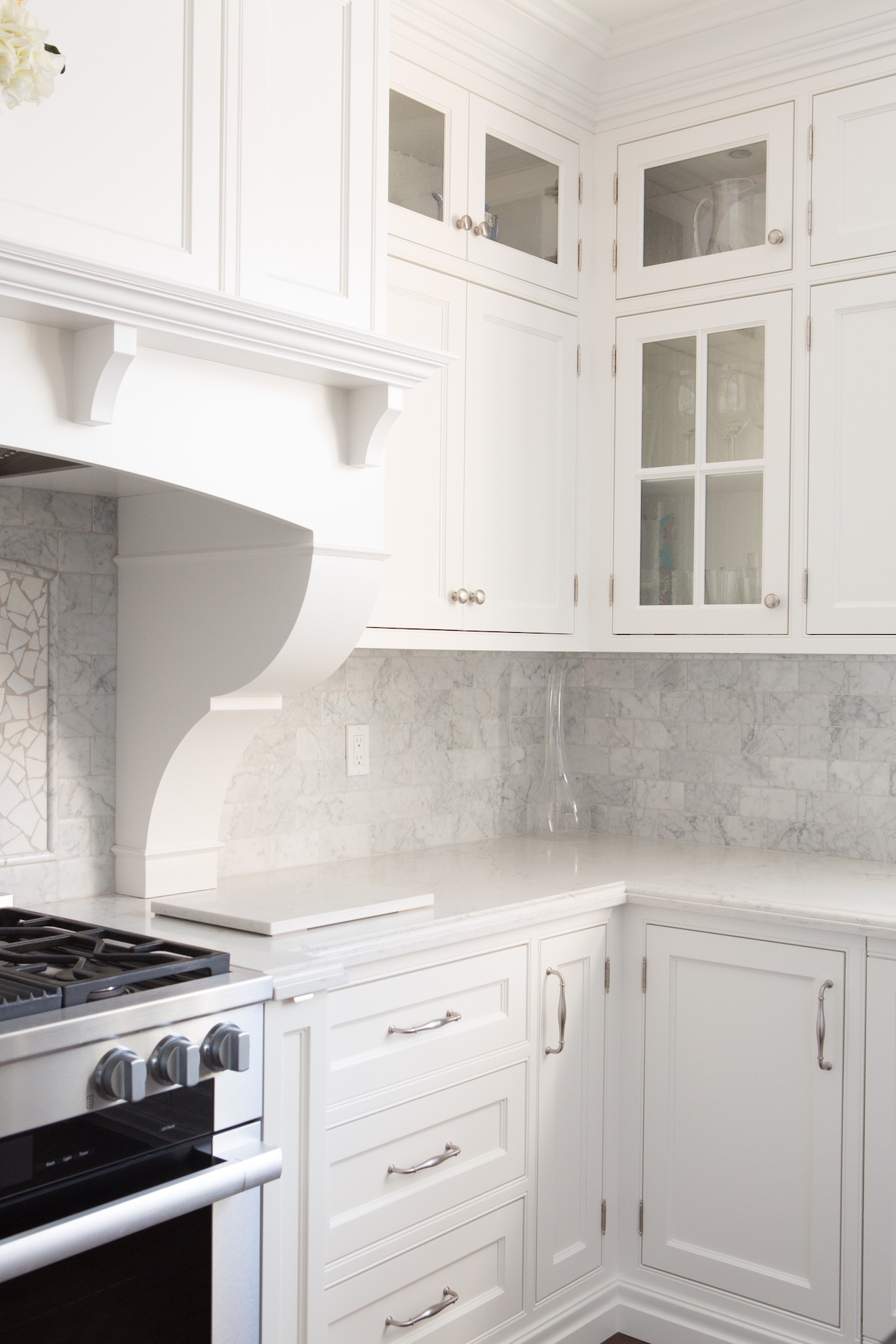 White cabinets and stove