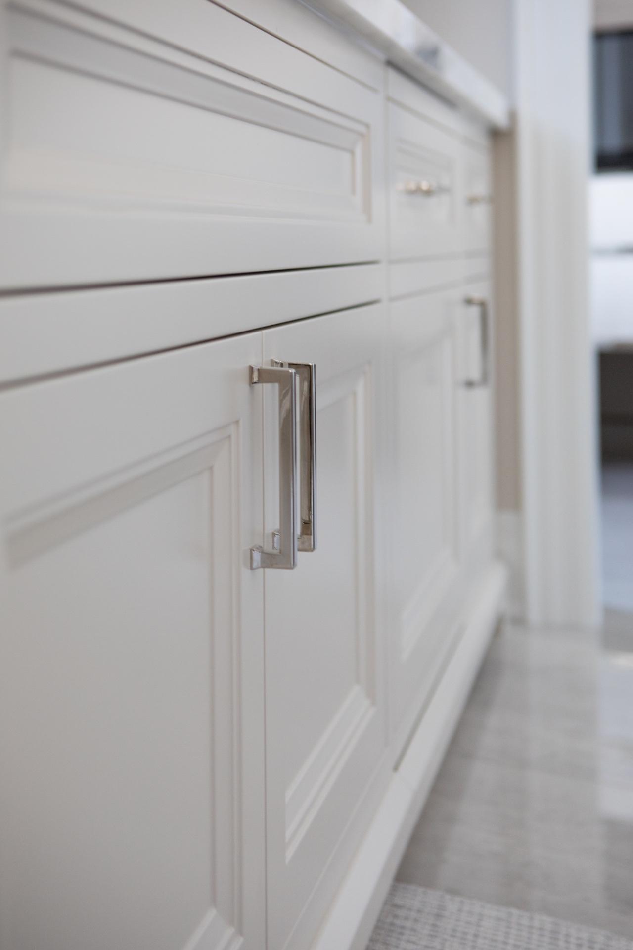 Cabinets with silver door handles